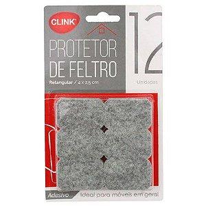 Protetor de feltro 12un retangular 4cm x 2,5cm- Clink
