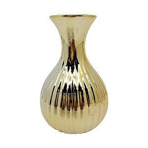 Vaso de cerâmica dourado