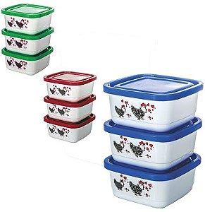 Conjunto 3 potes quadrados médios 550ml - Erca Plast