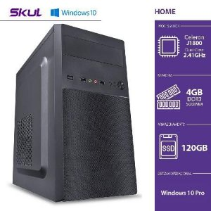 COMPUTADOR HOME H100 - CELERON DUAL CORE J1800 2.41GHZ 4GB DDR3 SODIMM SSD 120GB HDMI/VGA FONTE 200W WINDOWS 10 PRO