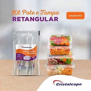 POTE C/ TAMPA RETANGULAR (250ml) C/25un (CRISTALCOPO) (KR-250)