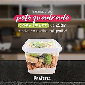 POTE C/ TAMPA QUADRADO C/ LACRE (250ml) C/10un (PRAFESTA)