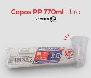 COPO DESC. 770ml PP TRANSP. LISO (ULTRA) PCT C/25un