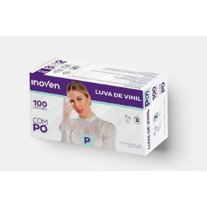 LUVA VINIL C/ PÓ CX C/100 (TAM. M) (INOVEN)