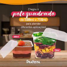 POTE C/ TAMPA QUADRADO (500ML) C/20UN (PRAFESTA)