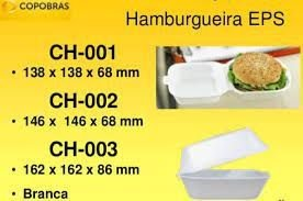 HAMBURGUEIRA ISOPOR 03 (CH-003) CX C/400un (COPOBRAS)