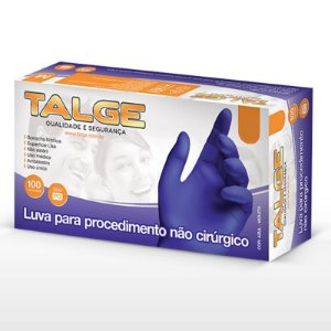LUVA NITRILICA AZUL S/ PÓ (TALGE) CX C/100UN (TAM. M)
