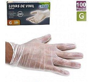 LUVA VINIL C/ PÓ CX C/100 (TAM. G) (CELESTE)