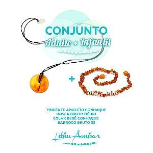 CJ - PINGENTE amuleto conhaque rosca bruto médio / COLAR BEBÊ conhaque barroco bruto 33