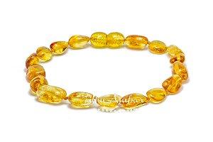 Pulseira de âmbar para adultos - mel oliva polido com fecho