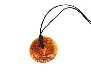 Pingente Amuleto de Âmbar - Conhaque rosca bruto