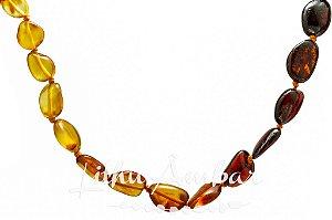 Colar de âmbar para adulto - Degradê oliva polido