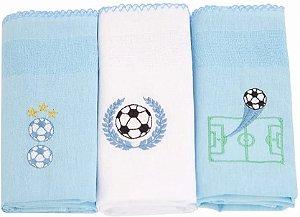 Fralda de Pano com bainha  C/3 unidades Bola Azul- Karinho