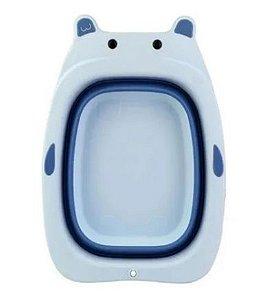 Bacia Retrátil Infantil Plástico e Silicone Azul Clink