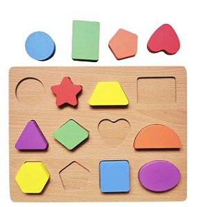 Brinquedo Educativo Didático Encaixe Madeira Formas Geométricas - DM Toys