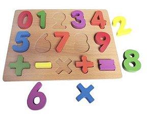 Brinquedo Educativo Didático Encaixe Madeira Números - DM Toys