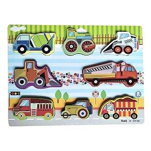Brinquedo Educativo Didático Encaixe Madeira Transportes - DM Toys