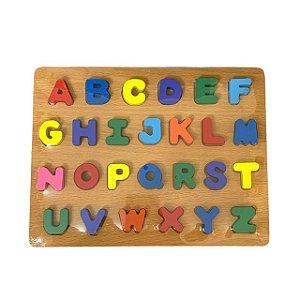 Brinquedo Educativo Didático Encaixe Madeira Alfabeto - DM Toys