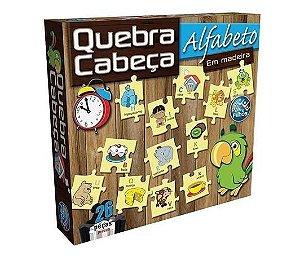 Quebra Cabeça Alfabeto em Madeira - Pais e Filhos 26 peças