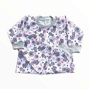 Pijama Infantil Moletinho Flanelado Lhama Rosa