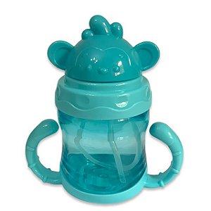 Copinho Treinamento Bebê Com Alça Bico Silicone Retrátil Com Tampa Azul