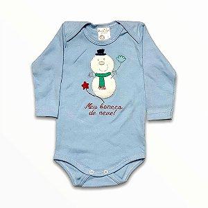 Body Bebê Manga Longa Meu Boneco de Neve Azul