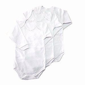 Conjunto de 3 bodies básicos brancos - manga Longa