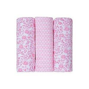 Conjunto Cueiro Papi Composê Estampado Rosa Floral 80x60 - 3 unidades- Papi Têxtil