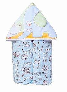 Toalha de Banho com Capuz forrada de Fralda - Azul Elefante