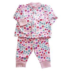 Pijama Infantil Moletinho Rosa Flores