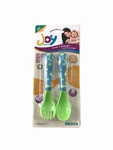 Conjunto colher e garfo Joy - Verde e Azul