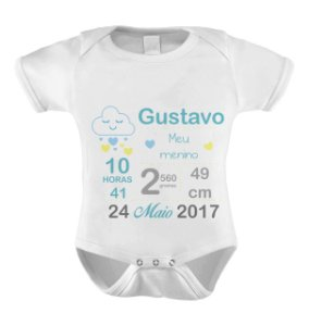 Body Dados de Nascimento - Nuvem Azul
