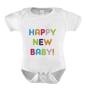 Body ou Camiseta Divertido - happy new Baby