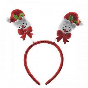 Tiara de antena de natal - Boneco de neve