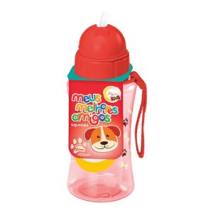 Garrafa Infantil plástica com Canudo 400ml - Cachorro