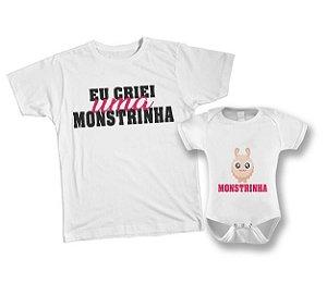 Kit camiseta e Body - Eu criei um Monstrinho Rosa