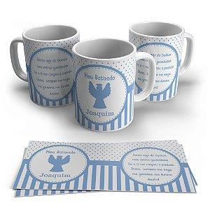 Caneca Personalizada Cerâmica Batizado Poá e Listras Azul