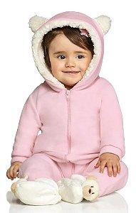 Macacão Soft Inverno Ursinho Capuz Bebê Rosa