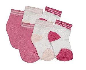 Meia para Recém Nascido com 3 unidades - Menina Rosa