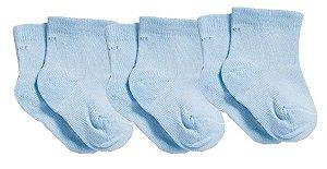 Meia para Recém Nascido com 3 unidades - Azul Claro Menino