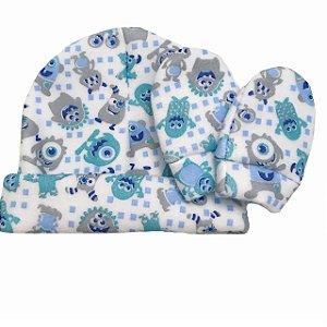 Touca e luva Bebê Soft Monstrinho Azul