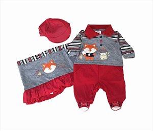 Saída Maternidade Raposa Vermelha em Malha - 3 peças