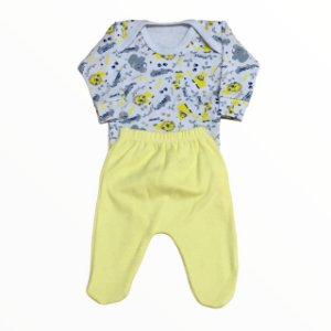 Conjunto Body + Calça Jungle Amarelo - Linha Prematuro