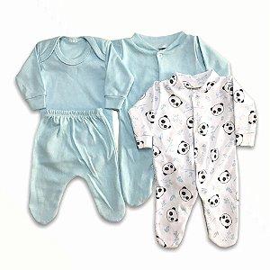 Kit Prematuro 2 Macacões + Body + calça  de Menino - Pandinha
