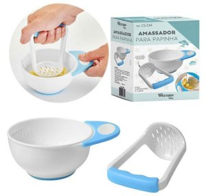 Kit Amassador de papinha do bebê Azul-Branco