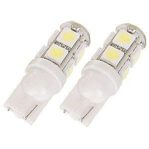 Par Pingo t10 super branco com 9 leds 5050- (pacote 2 unidades)