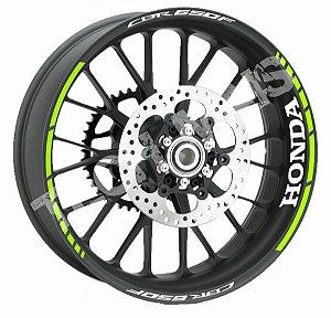 adesivo Fita de Roda Friso de Roda Refletivo Honda CBR650F Verde Fluorescente