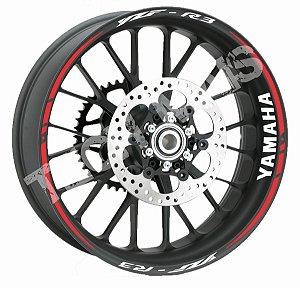 Fita de Roda Friso de Roda Refletivo Yamaha YZF R3 Orbital Duplo e Logo de Borda