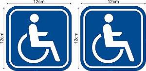 02 Adesivos Refletivos 12x12cm  PCD, PNE, Cadeirante, Idoso, Deficiente Visual, Autismo, Libras, Deficiente Auditivo