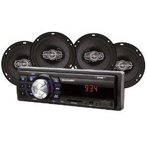 Kit Som Automotivo Multilaser Mp3 One Quadriaxial + Quatro Alto Falantes + Tela Led + Entrada SD - AU953